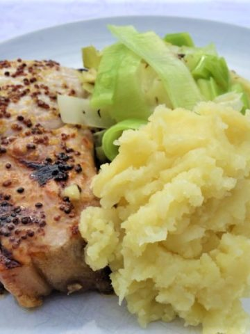mustard-and-honey-pork-chop-mash-greens