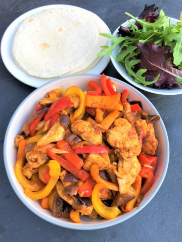 Fajitas-stir-fry-veg-chicken-tortillas-salad