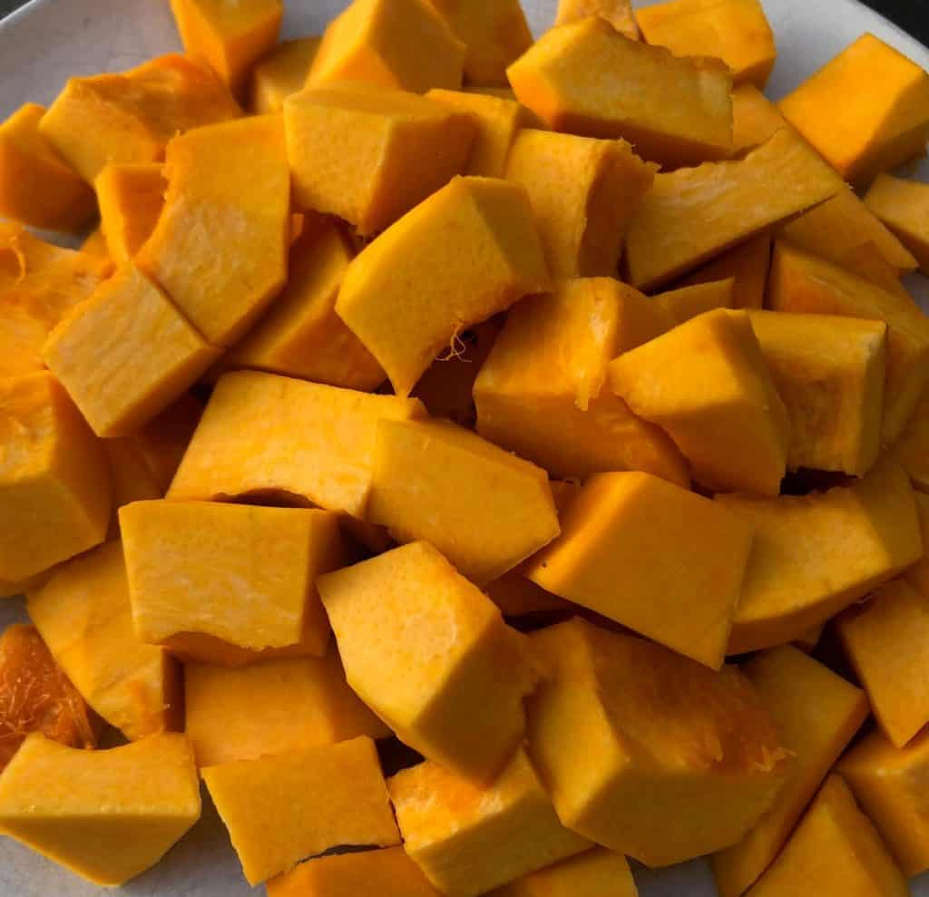 fresh diced pumpkin